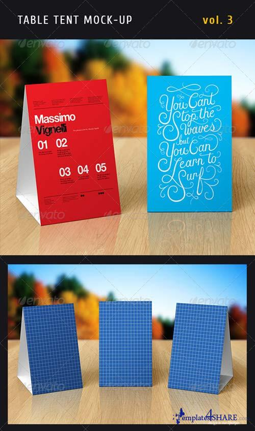 GraphicRiver Paper Table Tent Mock-up Template Vol.3