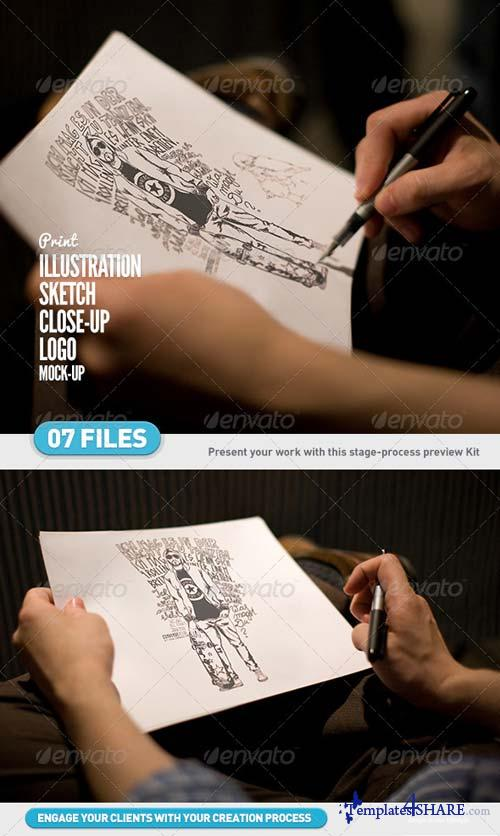 GraphicRiver Illustration | Sketch | Logo Close-Up Mock-Ups