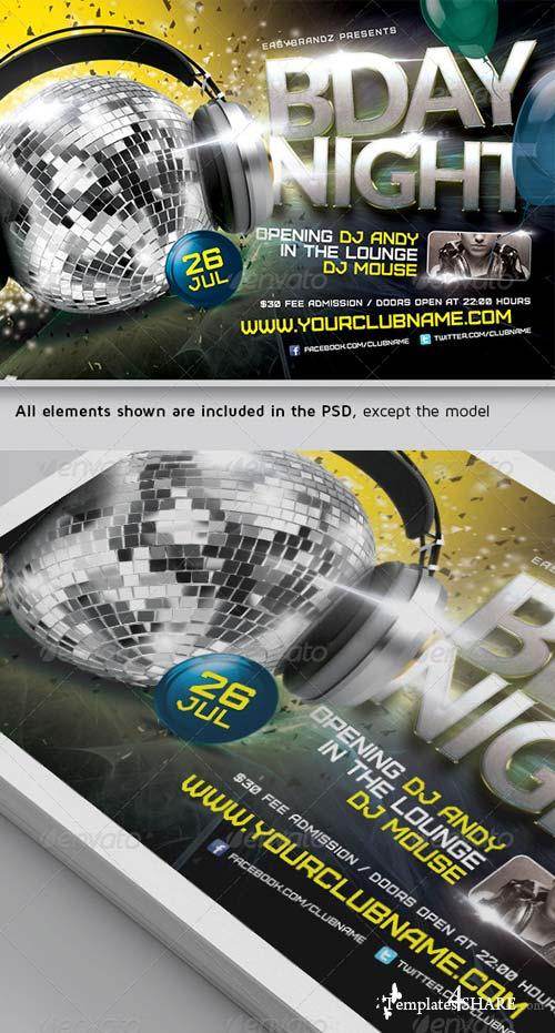 GraphicRiver BDay Night Flyer Template
