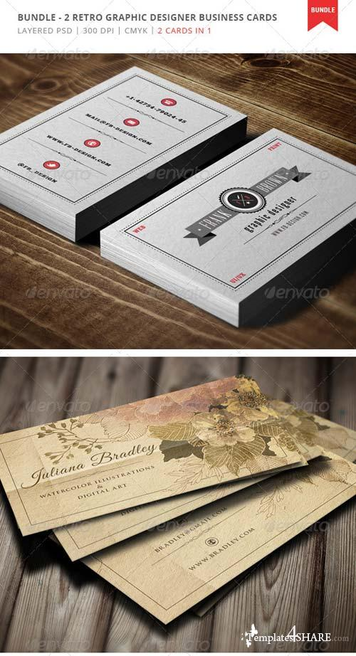 GraphicRiver Bundle - 2 Retro Designer Business Cards