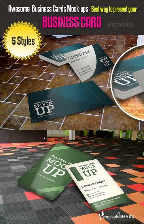 GraphicRiver Awesome Business Cards Mock-ups