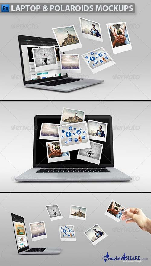 GraphicRiver Laptop with Polaroids Mockup