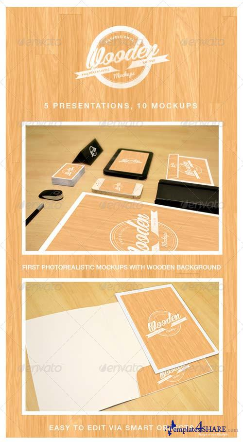 GraphicRiver Photorealistic Wooden Mockups - Vol. 1