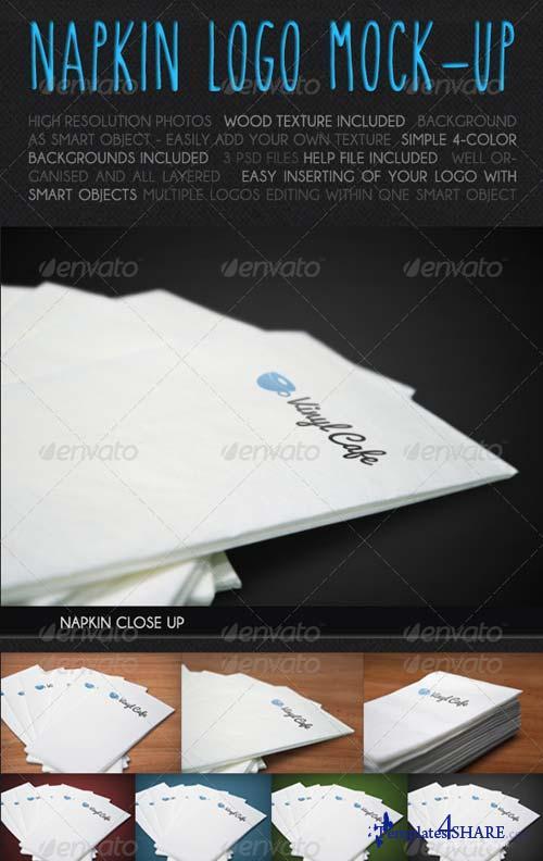 GraphicRiver 3 Napkin Logo Mock-ups