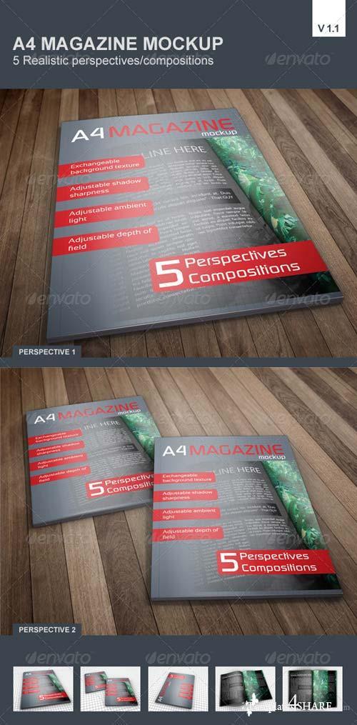 GraphicRiver Realistic A4 Magazine Mockup