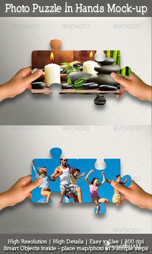 GraphicRiver Photo Puzzle In Hands Mock-up