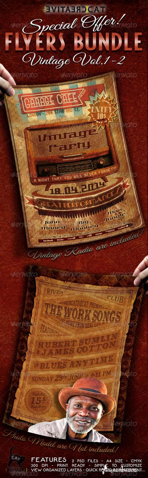 GraphicRiver Vintage Flyer/Poster Bundle Vol.1-2