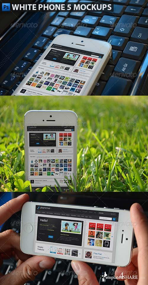 GraphicRiver White Phone 5 Mockups