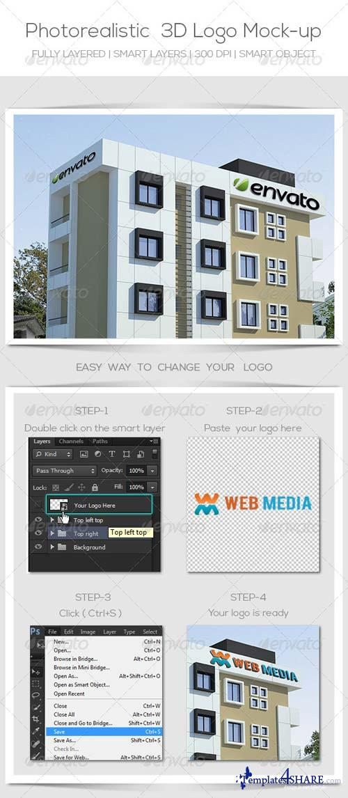 GraphicRiver Photorealistic Logo Mockup On Building