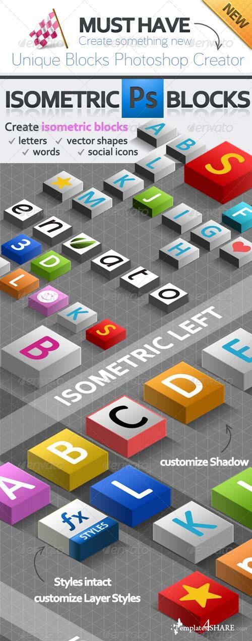 GraphicRiver 3D Isometric Blocks Photoshop Creator