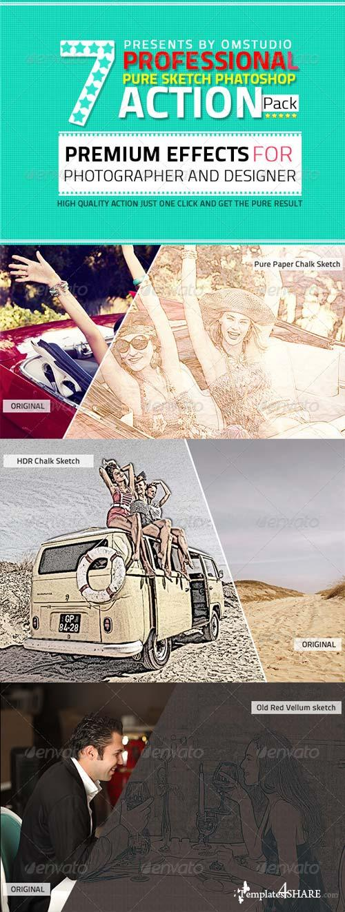 GraphicRiver 7 Professional Pure Sketch Photoshop Action Pack