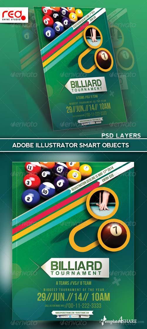 GraphicRiver Billiard Tournament Flyer Poster Magazine Template