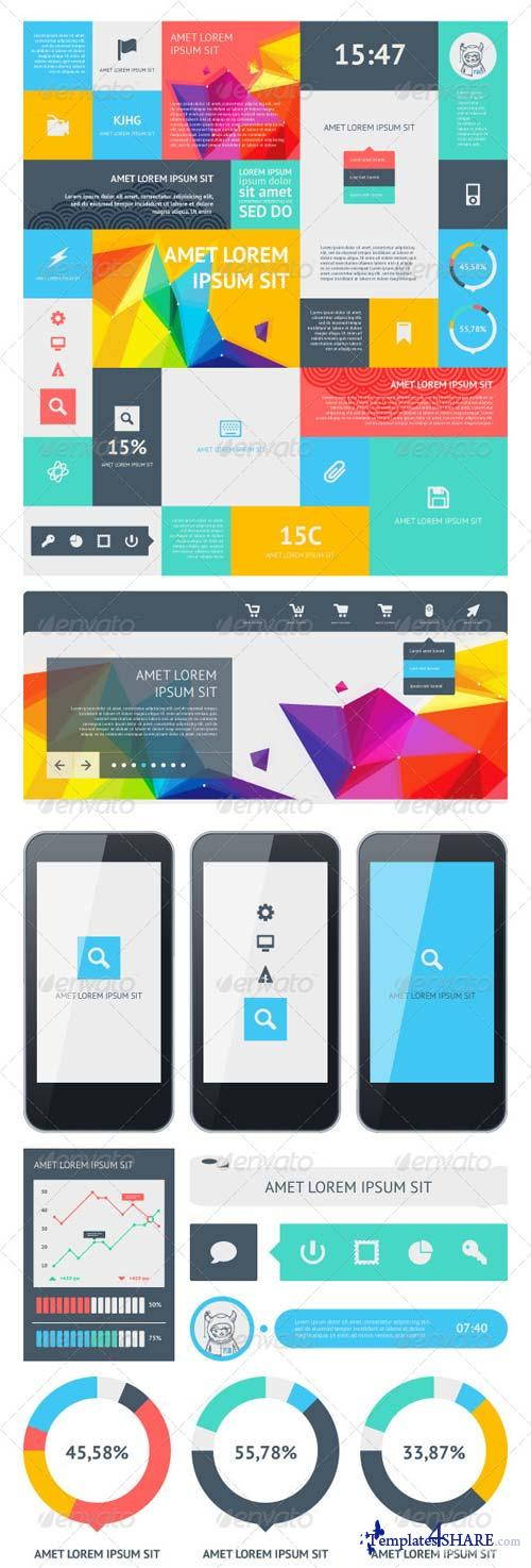 GraphicRiver UI Set Components Featuring Flat Design