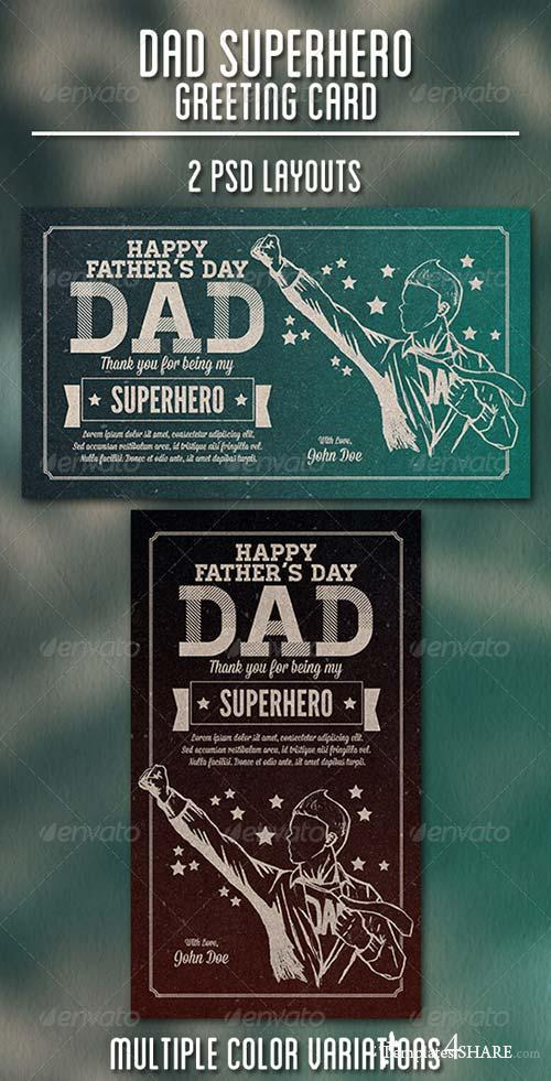 GraphicRiver Dad Superhero Greeting Card