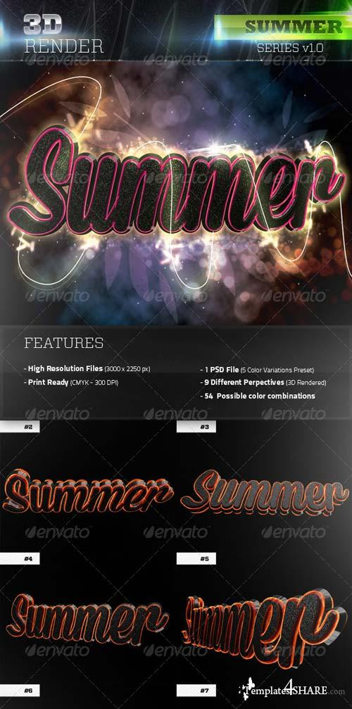 GraphicRiver 3D Summer Text