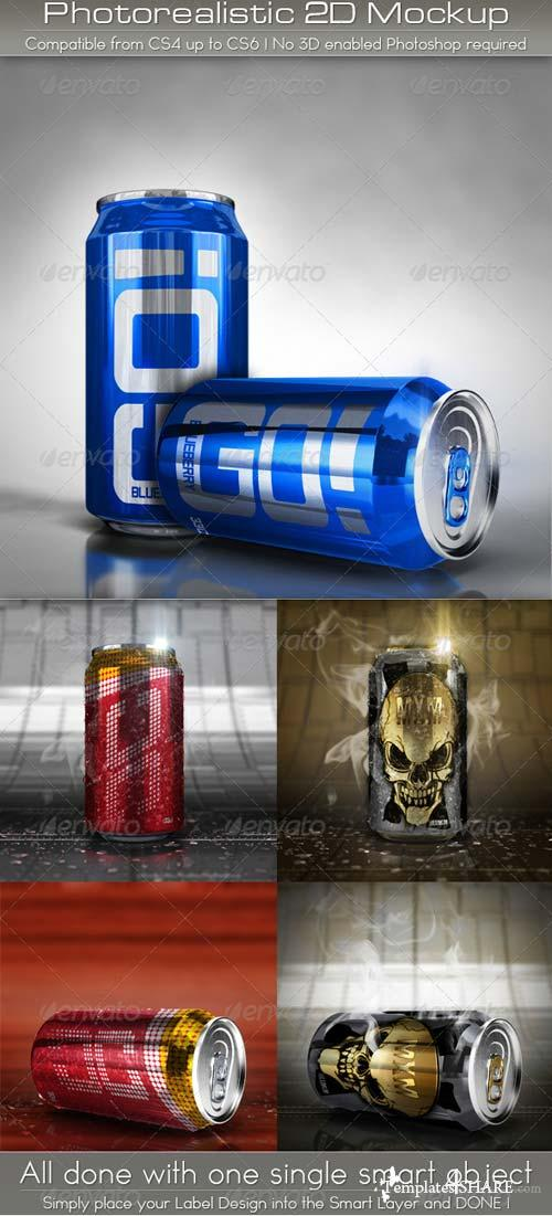 GraphicRiver Photorealistic Soda Can Mockup