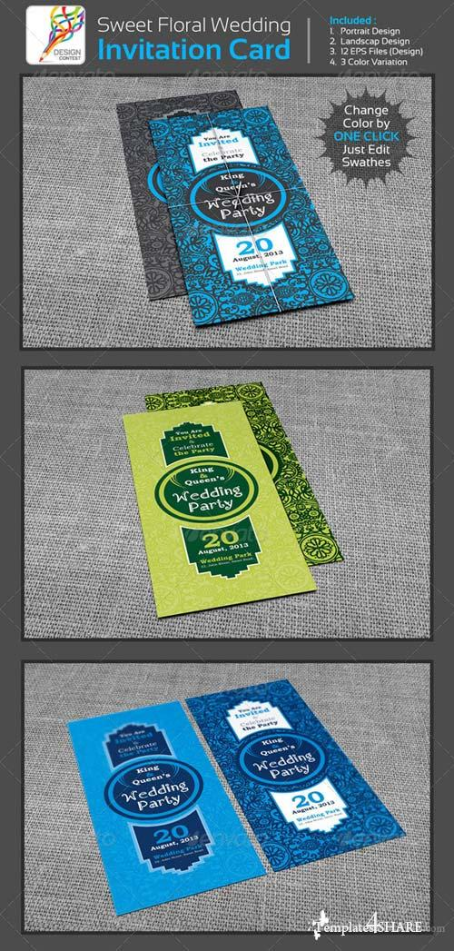 GraphicRiver Sweet Floral Wedding / Engagement Party Invitation