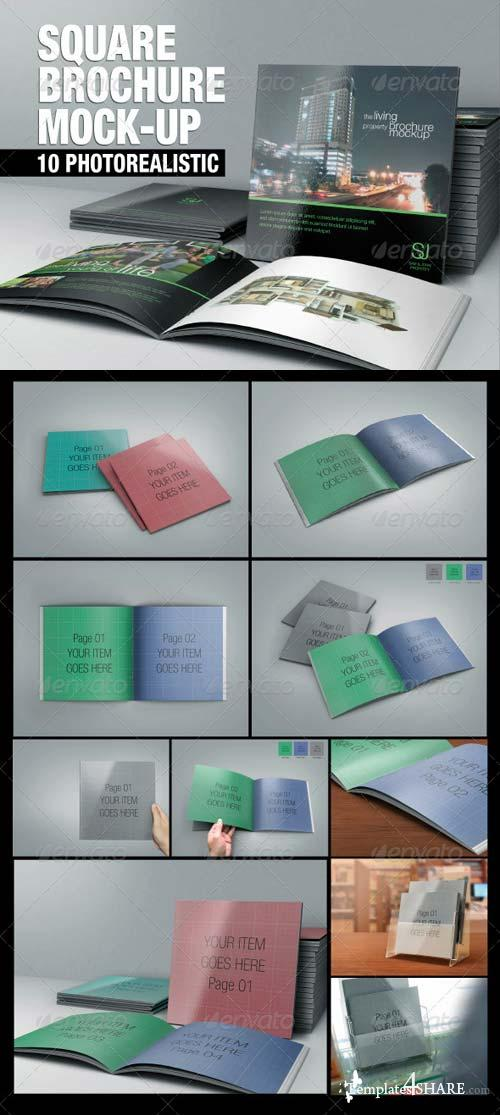 GraphicRiver Square Brochure Mock-up 5419620