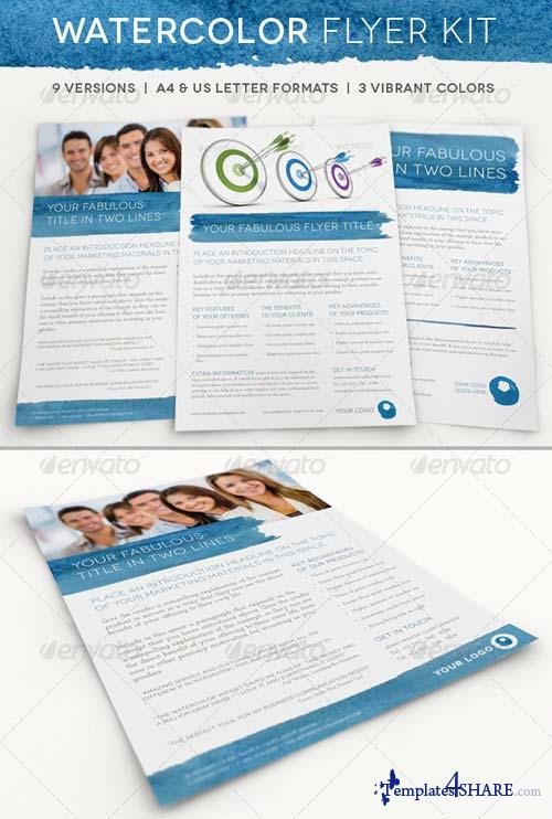 GraphicRiver Watercolor Business Flyer Kit