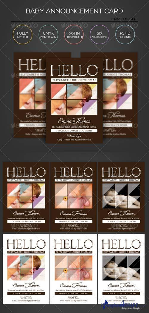 GraphicRiver Say Hi - Baby Announcement Card