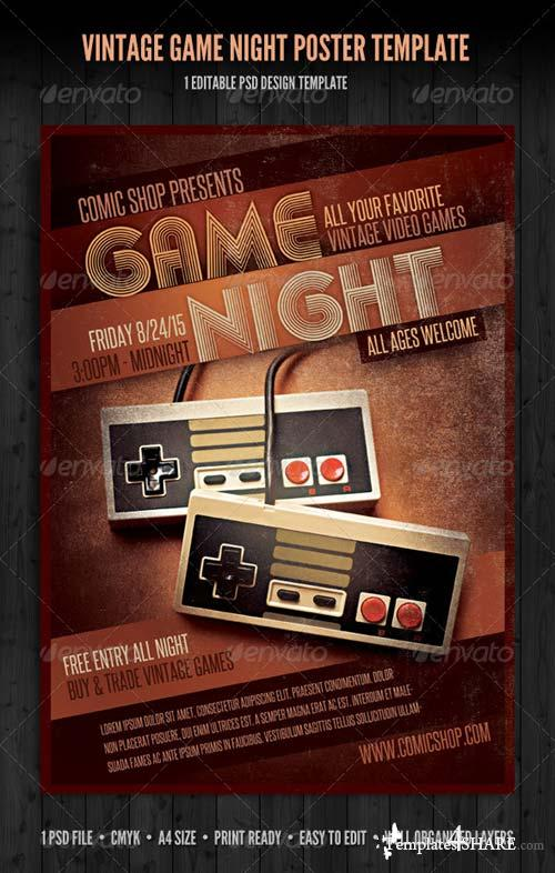 GraphicRiver Vintage Game Night Poster Template