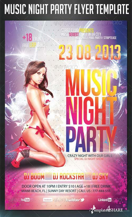 GraphicRiver Music Night Party Flyer Template 5360447