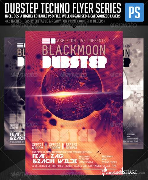 GraphicRiver Techno Dubstep Rave Club Flyer