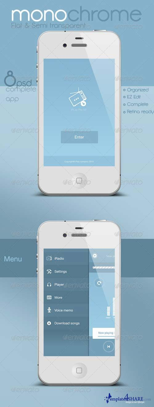 GraphicRiver Flat and Semi Transparent Audio App