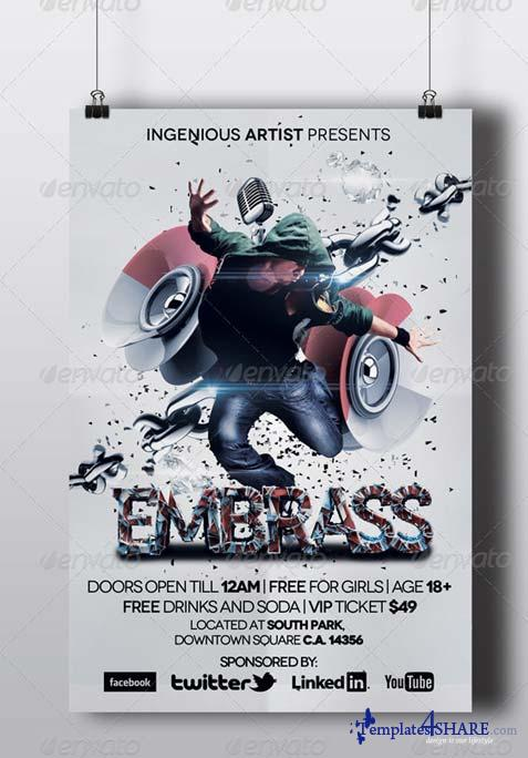 GraphicRiver Embrass Dubstep Party Flyer