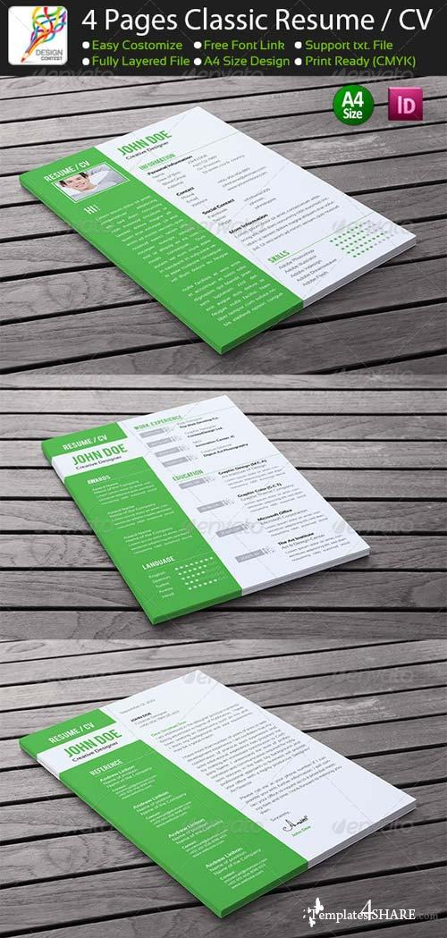 GraphicRiver 4 Pages Classic InDesign Resume