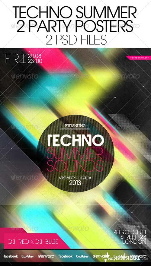 GraphicRiver Techno Summer Sounds Party 2 Posters