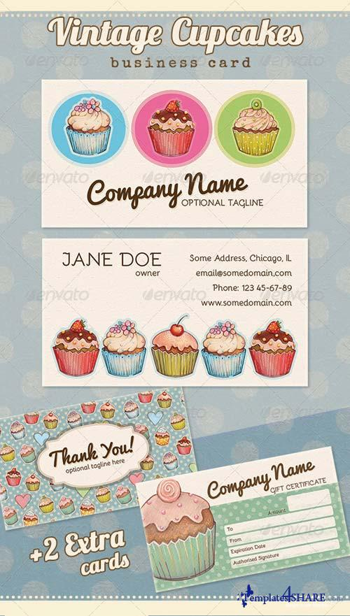 GraphicRiver Vintage Cupcake Business, Thank you, Gift Card