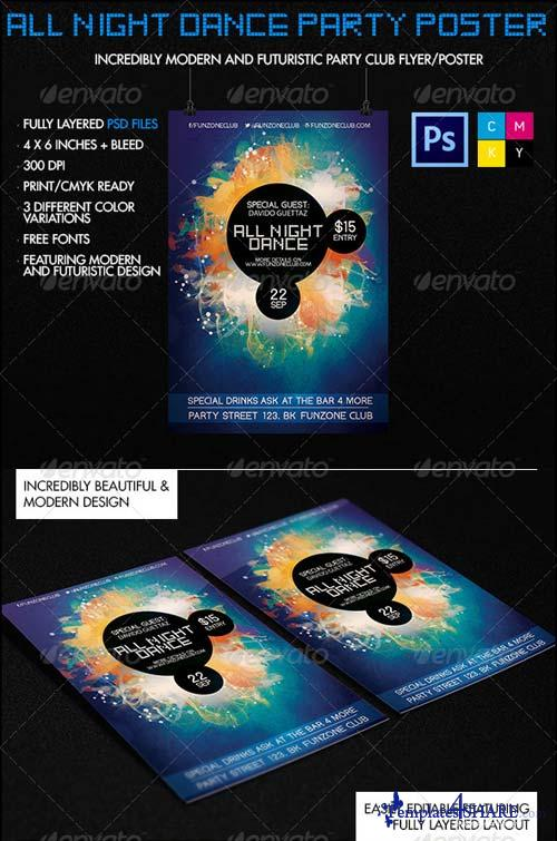 GraphicRiver All Night Dance Futuristic Party Poster/Flyer