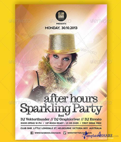 GraphicRiver After Hours Sparkling Night Party flyer