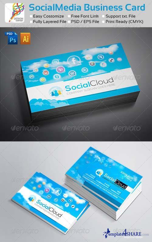 GraphicRiver Social Cloud : Social Media Business Cards