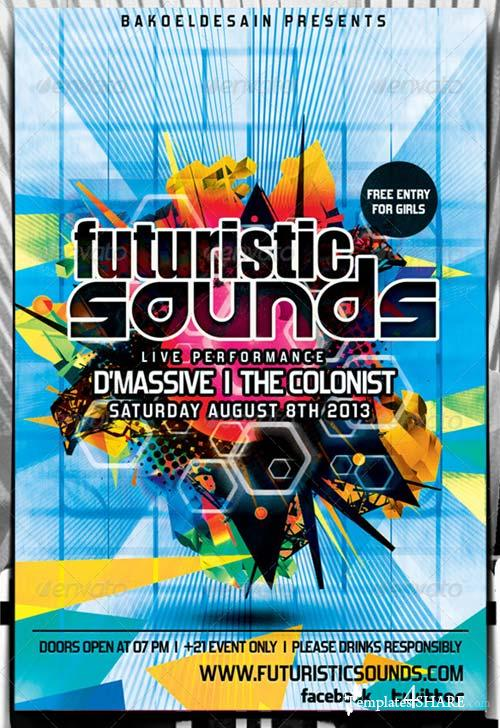 GraphicRiver Futuristic Sound Party Flyer Volume 3
