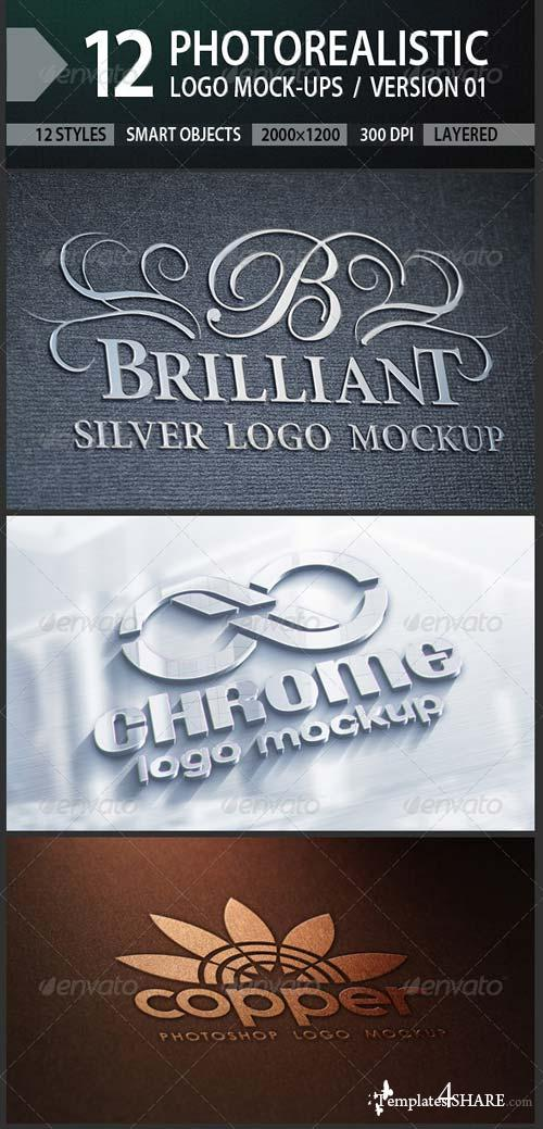 GraphicRiver 12 Photorealistic Logo Mock-ups / Version 01