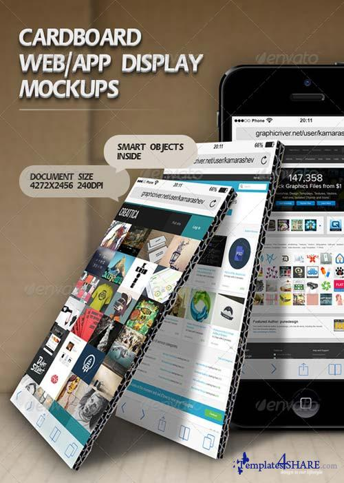 GraphicRiver Cardboard Web/App Display Mockups