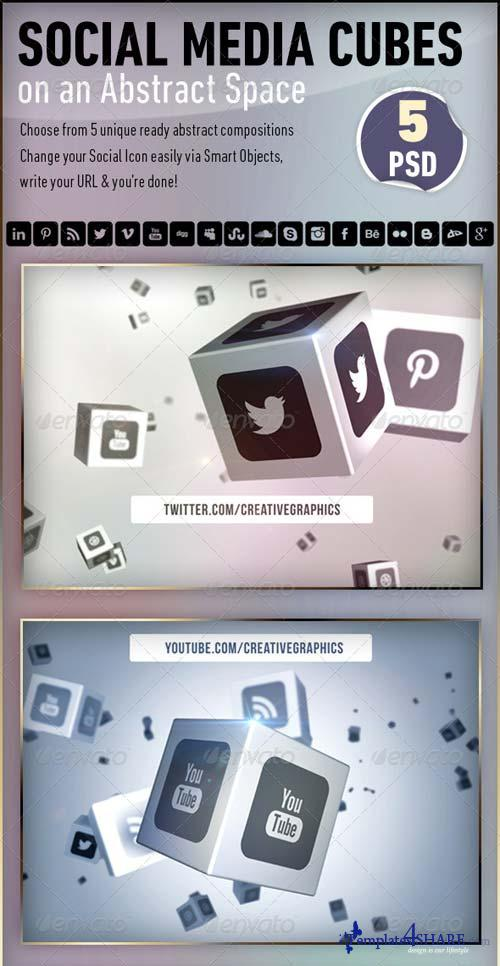 GraphicRiver Social Media Cubes on an Abstract Space
