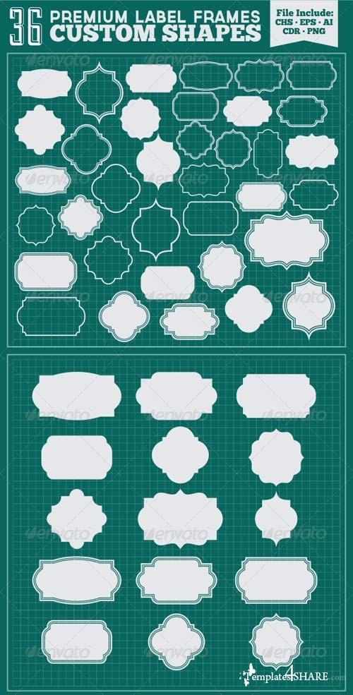 GraphicRiver 36 Premium Label Frames Custom Shapes