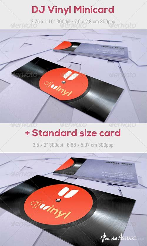 GraphicRiver DJ Vinyl Minicard + Standard size card