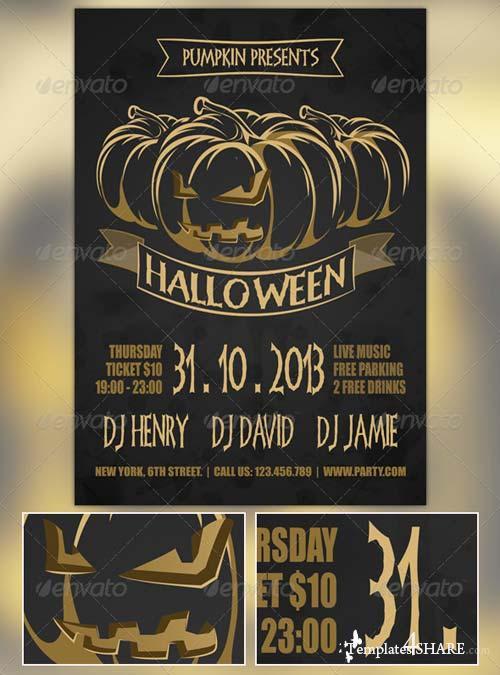 GraphicRiver Golden Halloween Flyer