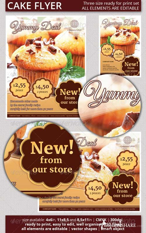 GraphicRiver Cake Flyer Set