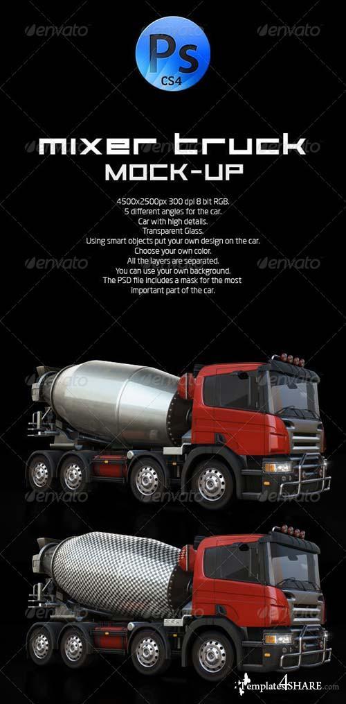 GraphicRiver Mixer Truck Mock-Up