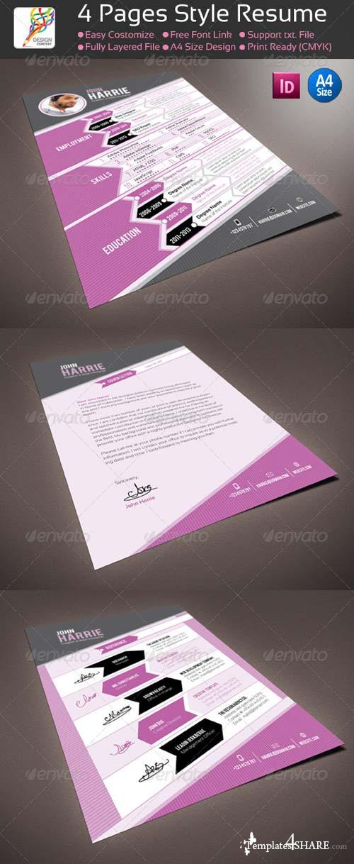 GraphicRiver 4 Pages InDesign Style Resume / CV