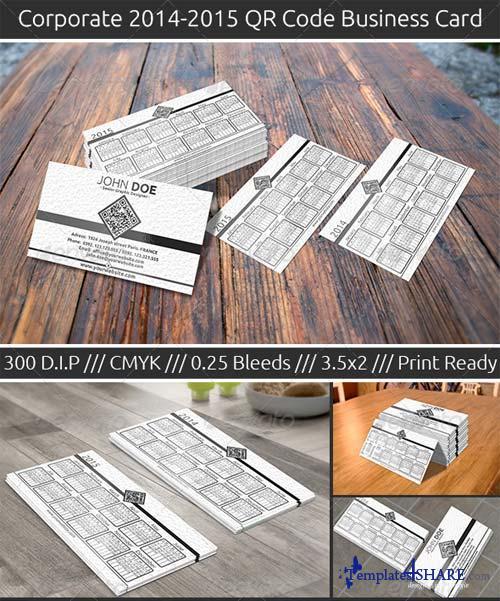 GraphicRiver Qr Code Business Card 2014-2015 Calendar