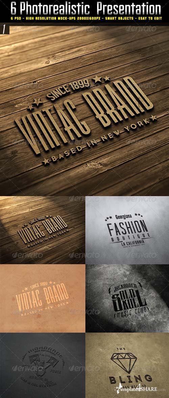 GraphicRiver 6 Photorealistic logo Mockup