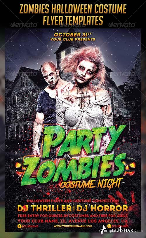 GraphicRiver Zombies Halloween Costume Flyers