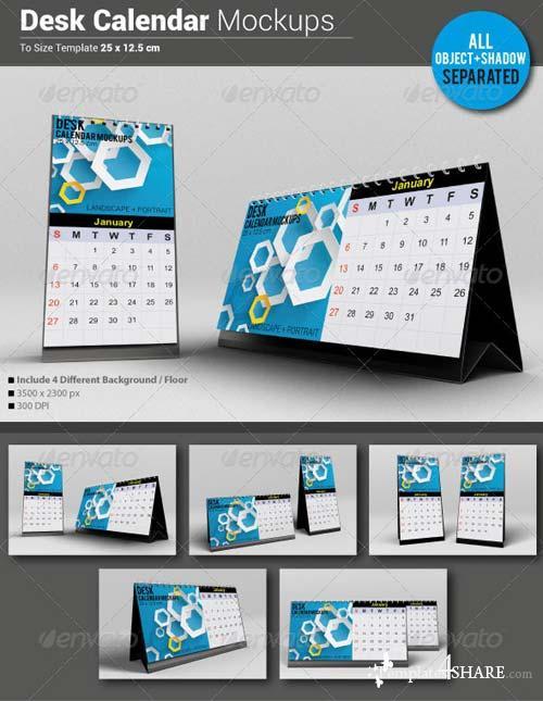 GraphicRiver Desk Calendar Mockups