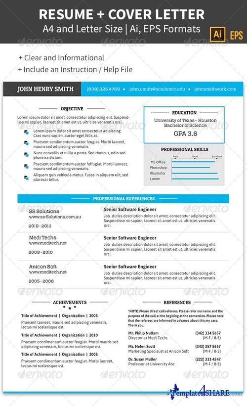 graphicriver professional resume and cover letter a4 8